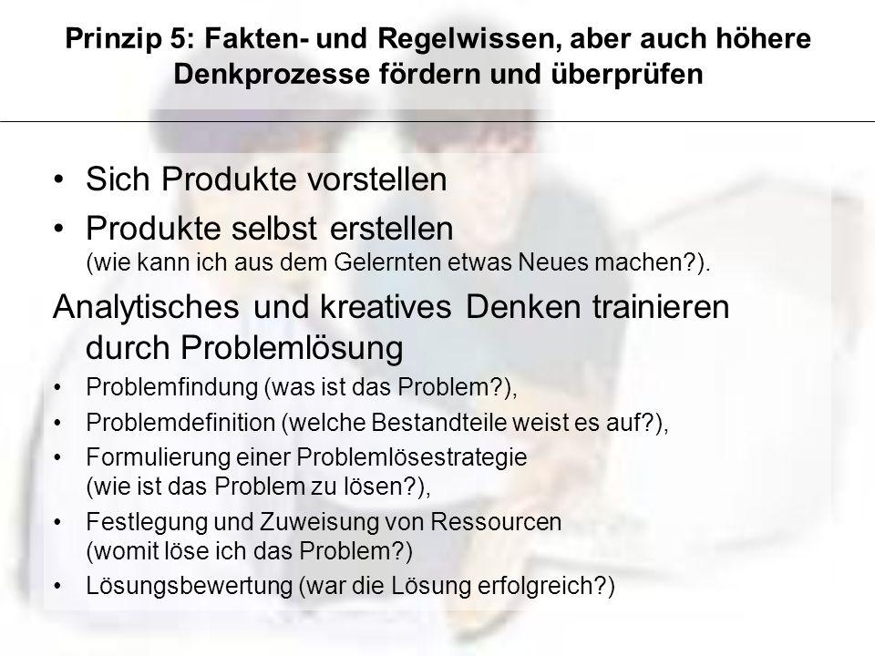 Prinzip 5: Fakten- und Regelwissen, aber auch höhere Denkprozesse fördern und überprüfen Sich Produkte vorstellen Produkte selbst erstellen (wie kann