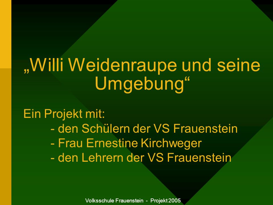 Volksschule Frauenstein - Projekt 2005 Willi Weidenraupe und seine Umgebung Beteiligte Personen: VOL Ingrid Kerbl VD OSR Johann Stoiber Ernestine Kirchweger Zielgruppe: 1.