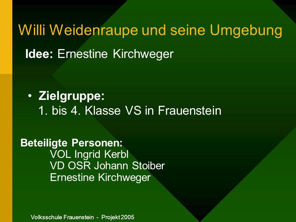Volksschule Frauenstein - Projekt 2005 Willi W. und der Wald Die Barfußraupe Tasten Fühlen Erkennen