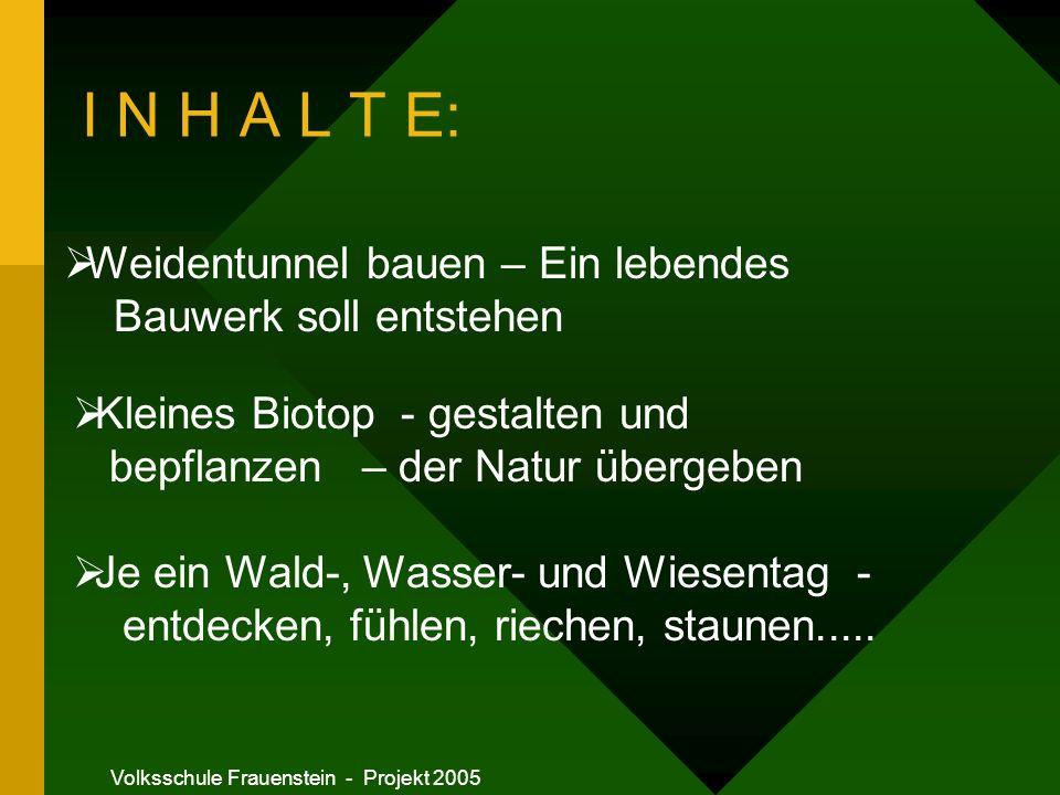 Volksschule Frauenstein - Projekt 2005 I N H A L T E: Je ein Wald-, Wasser- und Wiesentag - entdecken, fühlen, riechen, staunen.....