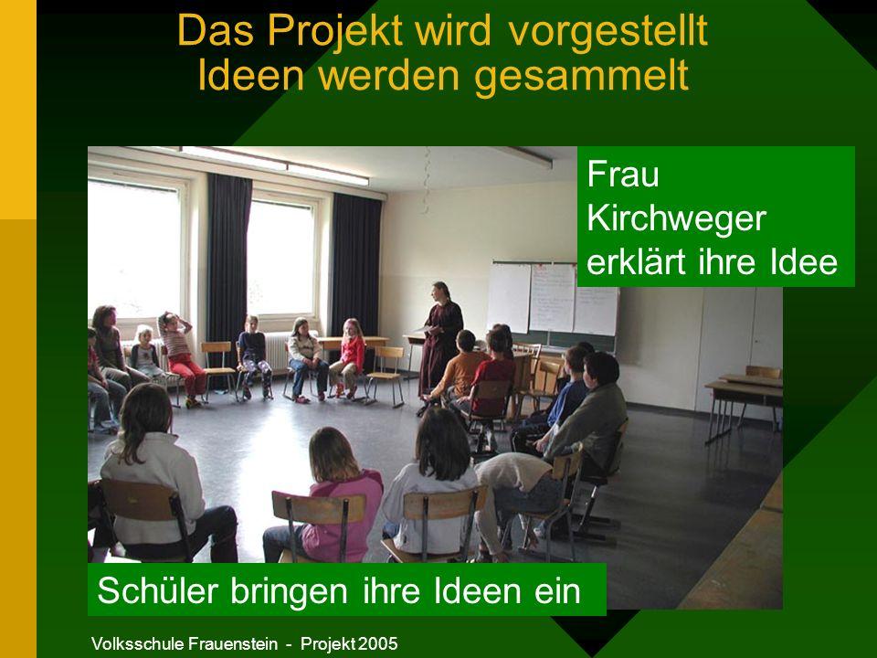 Volksschule Frauenstein - Projekt 2005 Das Projekt wird vorgestellt Ideen werden gesammelt Frau Kirchweger erklärt ihre Idee Schüler bringen ihre Ideen ein