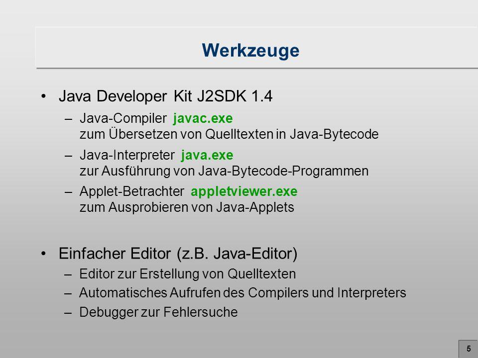 6 Das erste Java-Programm: Hello World Programm HelloWorld.java class HelloWorld { public static void main (String args[]) { System.out.println( Hallo Welt! ); } Ausgabe: Hallo Welt!.java-Datei Quelltext, engl.: Source code