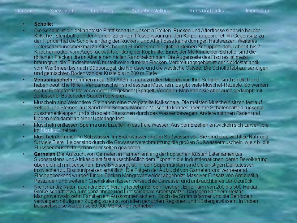 StartseiteEinleitungAufgabenstellungInfos und LinksImpressumSpeisekarte Scholle: Die Scholle ist die bekannteste Plattfischart in unseren Breiten. Rüc