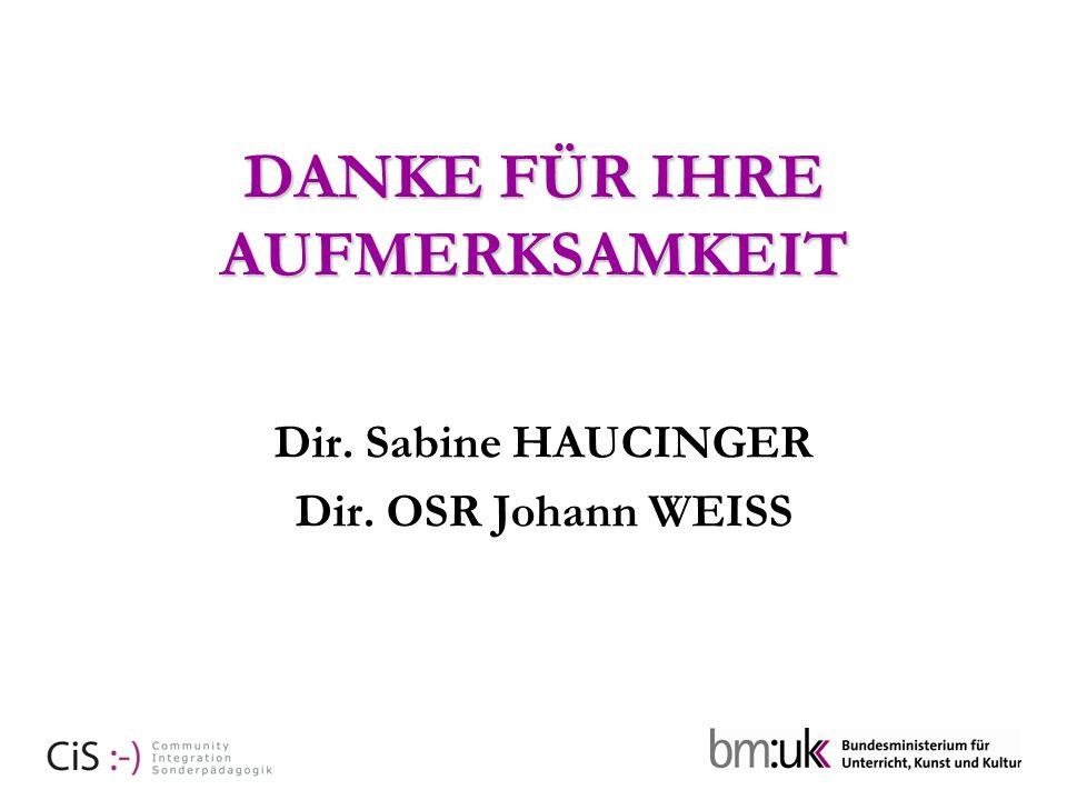 DANKE FÜR IHRE AUFMERKSAMKEIT Dir. Sabine HAUCINGER Dir. OSR Johann WEISS