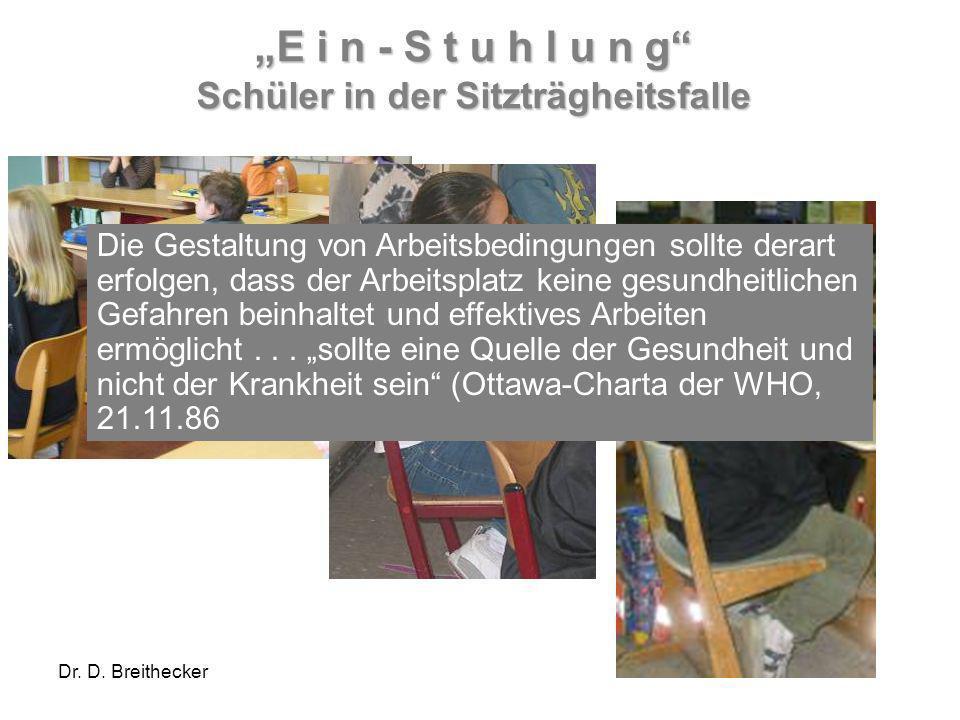 Dr. D. Breithecker E i n - S t u h l u n g Schüler in der Sitzträgheitsfalle Die Gestaltung von Arbeitsbedingungen sollte derart erfolgen, dass der Ar