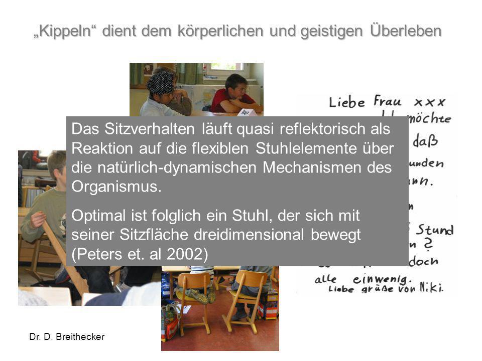 Dr. D. Breithecker Kippeln dient dem körperlichen und geistigen Überleben Das Sitzverhalten läuft quasi reflektorisch als Reaktion auf die flexiblen S