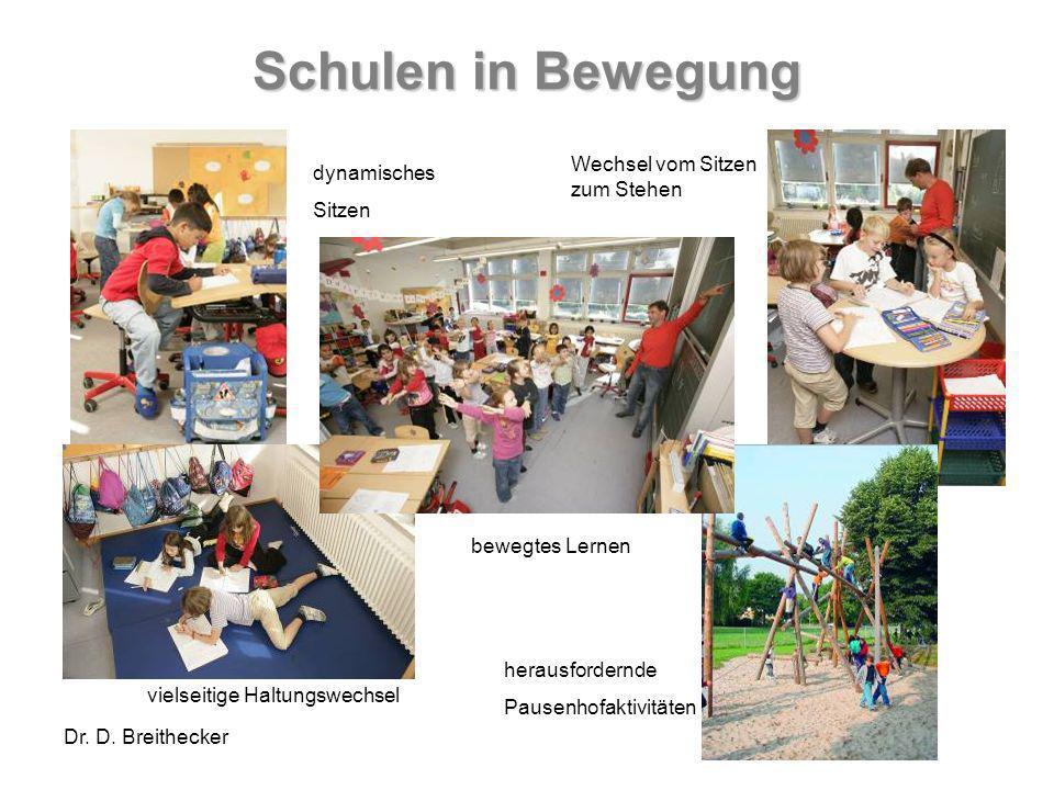 Dr. D. Breithecker Schulen in Bewegung dynamisches Sitzen Wechsel vom Sitzen zum Stehen bewegtes Lernen herausfordernde Pausenhofaktivitäten vielseiti