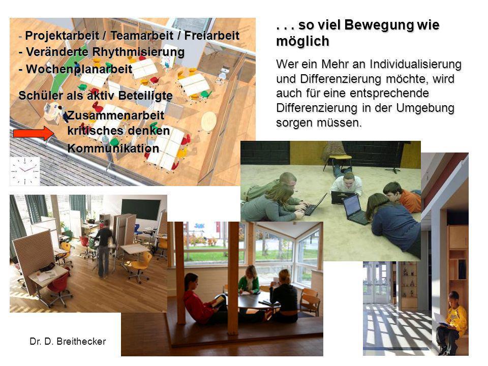 Dr. D. Breithecker Mehr Flexibilität und Mobilität... so viel Bewegung wie möglich Wer ein Mehr an Individualisierung und Differenzierung möchte, wird