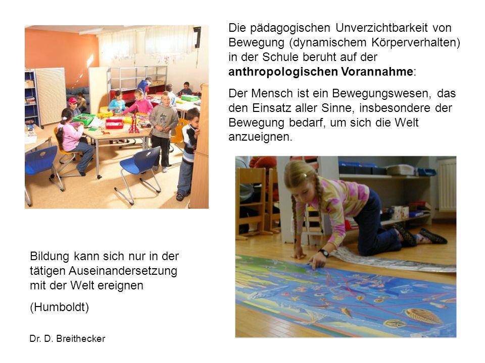 Dr. D. Breithecker Die pädagogischen Unverzichtbarkeit von Bewegung (dynamischem Körperverhalten) in der Schule beruht auf der anthropologischen Voran