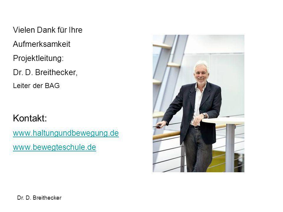 Dr. D. Breithecker Vielen Dank für Ihre Aufmerksamkeit Projektleitung: Dr. D. Breithecker, Leiter der BAG Kontakt: www.haltungundbewegung.de www.beweg