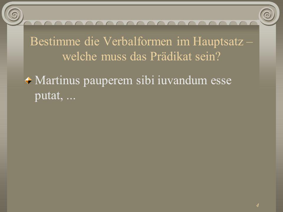 4 Bestimme die Verbalformen im Hauptsatz – welche muss das Prädikat sein? Martinus pauperem sibi iuvandum esse putat,...
