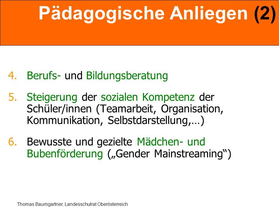 Thomas Baumgartner, Landesschulrat Oberösterreich Pädagogische Anliegen (2) 4.Berufs- und Bildungsberatung 5.Steigerung der sozialen Kompetenz der Sch