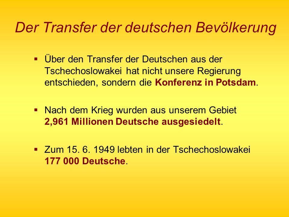 Der Transfer der deutschen Bevölkerung Über den Transfer der Deutschen aus der Tschechoslowakei hat nicht unsere Regierung entschieden, sondern die Ko