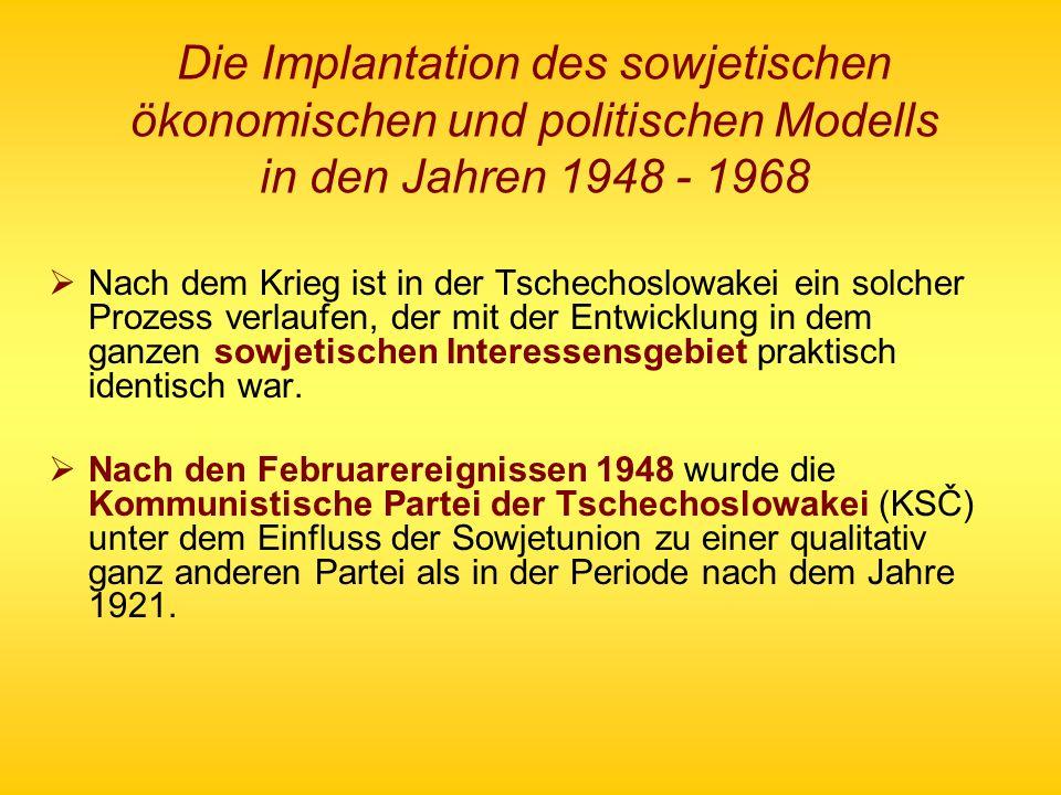 Die Implantation des sowjetischen ökonomischen und politischen Modells in den Jahren 1948 - 1968 Nach dem Krieg ist in der Tschechoslowakei ein solche