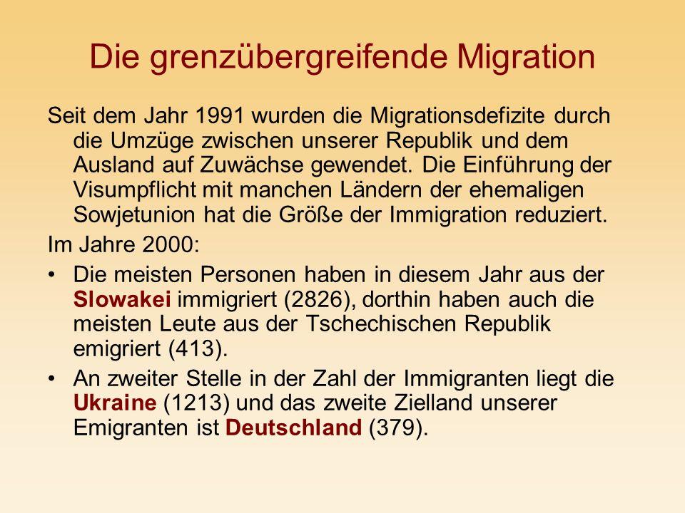 Die grenzübergreifende Migration Seit dem Jahr 1991 wurden die Migrationsdefizite durch die Umzüge zwischen unserer Republik und dem Ausland auf Zuwäc
