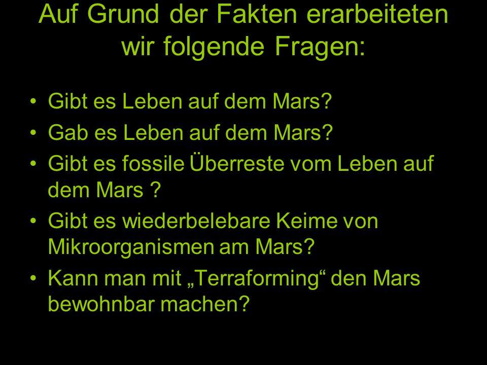 Auf Grund der Fakten erarbeiteten wir folgende Fragen: Gibt es Leben auf dem Mars? Gab es Leben auf dem Mars? Gibt es fossile Überreste vom Leben auf