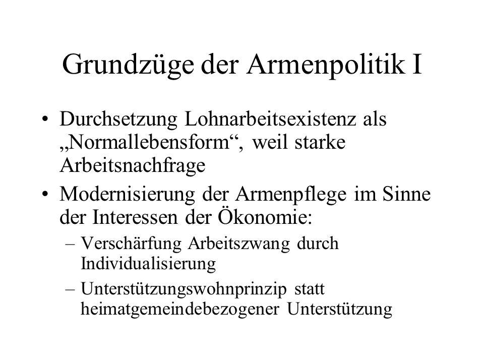 Grundzüge der Armenpolitik II -Nach 1873 – große Depression: Entwicklung neues Armutsbewußtsein: Proletaritat.