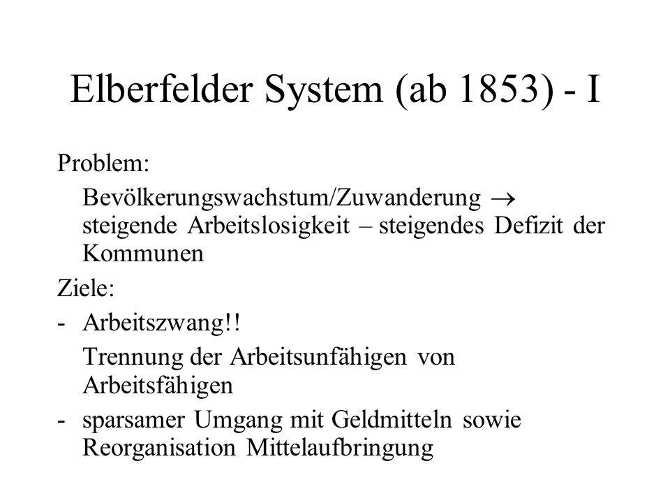 Elberfelder System (ab 1853) - II Prinzipien: -Ehrenamtlichkeit -Individualisierung (erste Richtlinien!) -Dezentralisierung -Vermeidung von Dauerleistung Problematik: Hausarme – Lohndumping.