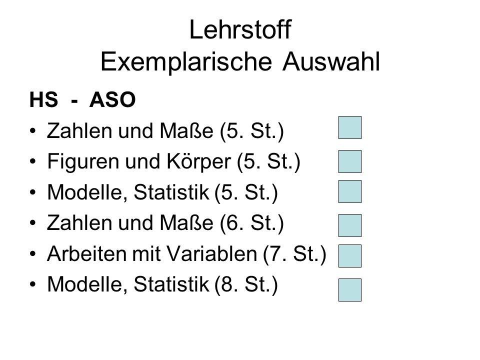 Lehrstoff Exemplarische Auswahl HS - ASO Zahlen und Maße (5.