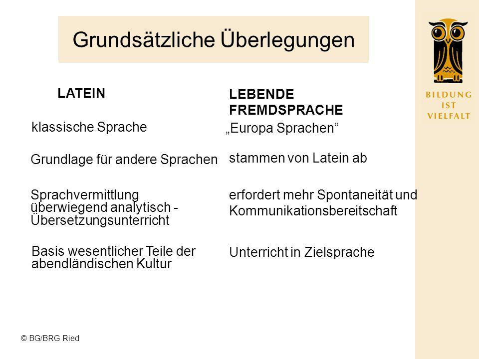© BG/BRG Ried Sprachen in unserer Oberstufe GYMNASIUM 3 SPRACHEN REAL GYMNASIUM 2 SPRACHEN 1.