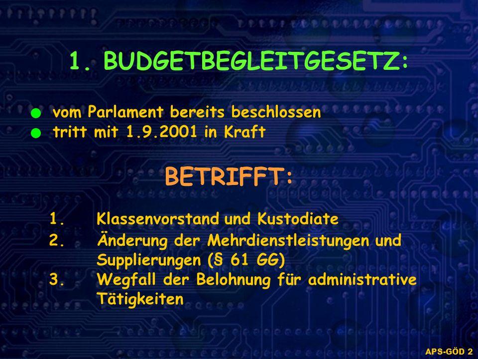 APS-GÖD 2 1. BUDGETBEGLEITGESETZ: vom Parlament bereits beschlossen tritt mit 1.9.2001 in Kraft BETRIFFT: 1.Klassenvorstand und Kustodiate 2. Änderung