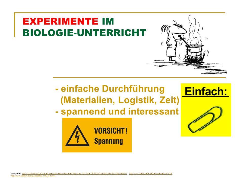 EXPERIMENTE IM BIOLOGIE-UNTERRICHT - einfache Durchführung (Materialien, Logistik, Zeit) - spannend und interessant Bildquellen: http://communityrc2.schule.at/index.php/resources/data/fotos/index.php?cid=1566&modul=0&folder=33335&cid=6012; http://www.media.uebergebuehr.de/view/id/1029/; http://www.safetymarking.ch/details_1197311.htmlhttp://communityrc2.schule.at/index.php/resources/data/fotos/index.php?cid=1566&modul=0&folder=33335&cid=6012http://www.media.uebergebuehr.de/view/id/1029/ http://www.safetymarking.ch/details_1197311.html