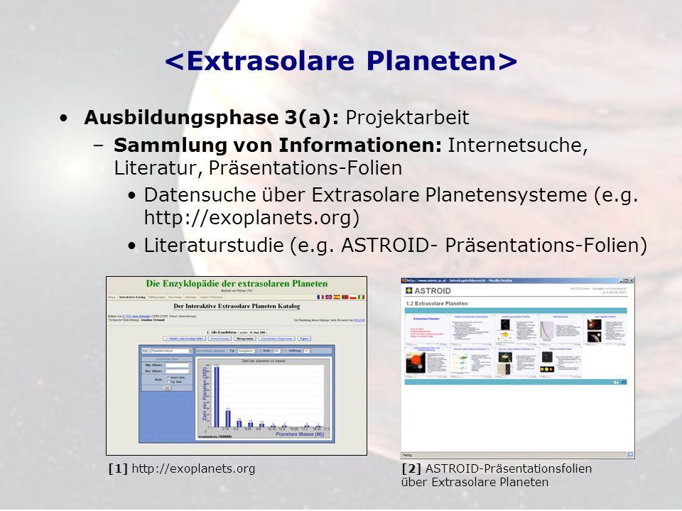 Ausbildungsphase 3(a): Projektarbeit –Sammlung von Informationen: Internetsuche, Literatur, Präsentations-Folien Datensuche über Extrasolare Planetens