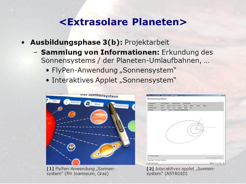 Ausbildungsphase 3(b): Projektarbeit –Sammlung von Informationen: Erkundung des Sonnensystems / der Planeten-Umlaufbahnen, … FlyPen-Anwendung Sonnensy