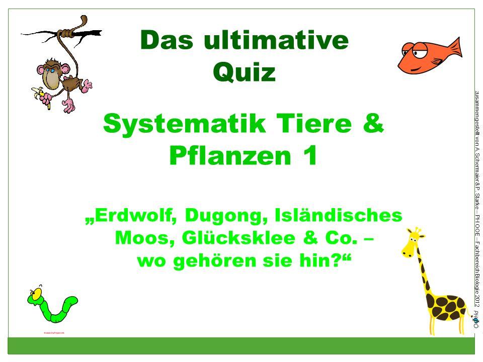 zusammengestellt von A. Schermaier & P. Starke – PH OOE – Fachbereich Biologie 2012 Das ultimative Quiz Systematik Tiere & Pflanzen 1 Erdwolf, Dugong,