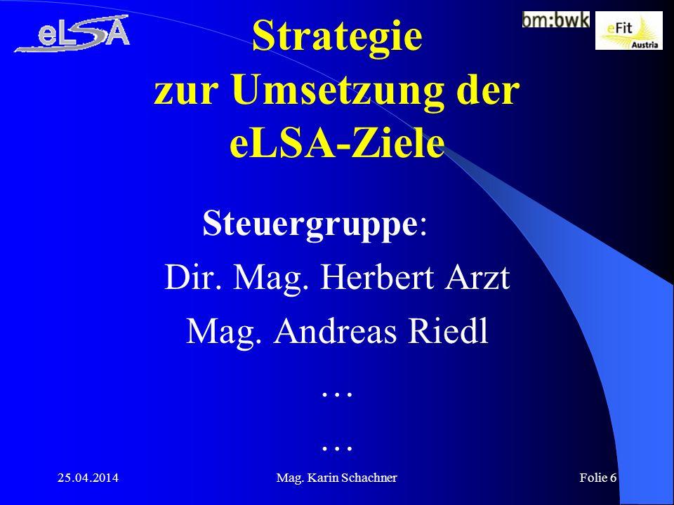 25.04.2014Mag. Karin SchachnerFolie 6 Strategie zur Umsetzung der eLSA-Ziele Steuergruppe: Dir.