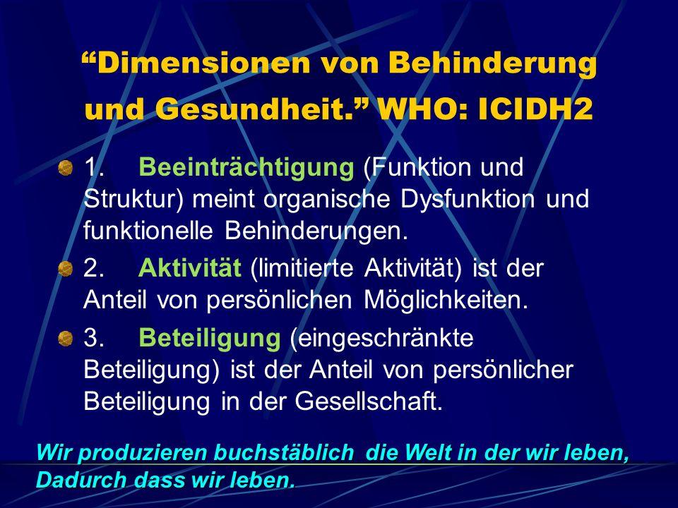 Dimensionen von Behinderung und Gesundheit.WHO: ICIDH2 1.