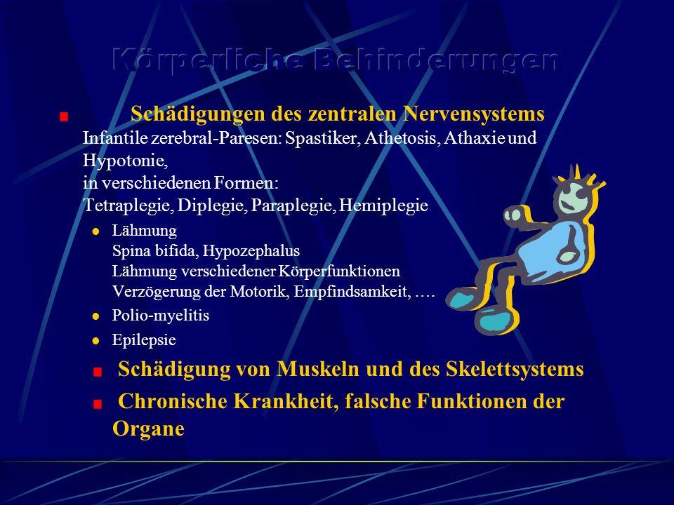 Schädigungen des zentralen Nervensystems Infantile zerebral-Paresen: Spastiker, Athetosis, Athaxie und Hypotonie, in verschiedenen Formen: Tetraplegie, Diplegie, Paraplegie, Hemiplegie Lähmung Spina bifida, Hypozephalus Lähmung verschiedener Körperfunktionen Verzögerung der Motorik, Empfindsamkeit, ….
