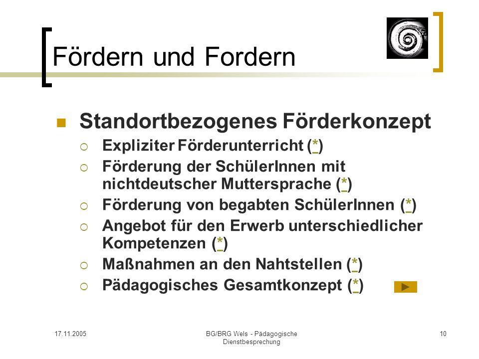 17.11.2005BG/BRG Wels - Pädagogische Dienstbesprechung 10 Fördern und Fordern Standortbezogenes Förderkonzept Expliziter Förderunterricht (*)* Förderu