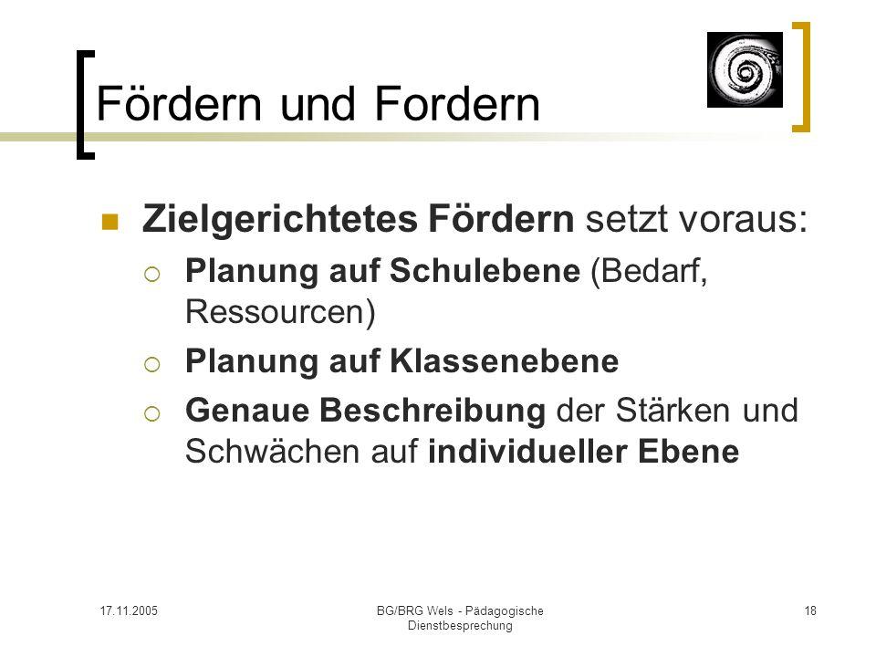 17.11.2005BG/BRG Wels - Pädagogische Dienstbesprechung 18 Fördern und Fordern Zielgerichtetes Fördern setzt voraus: Planung auf Schulebene (Bedarf, Re