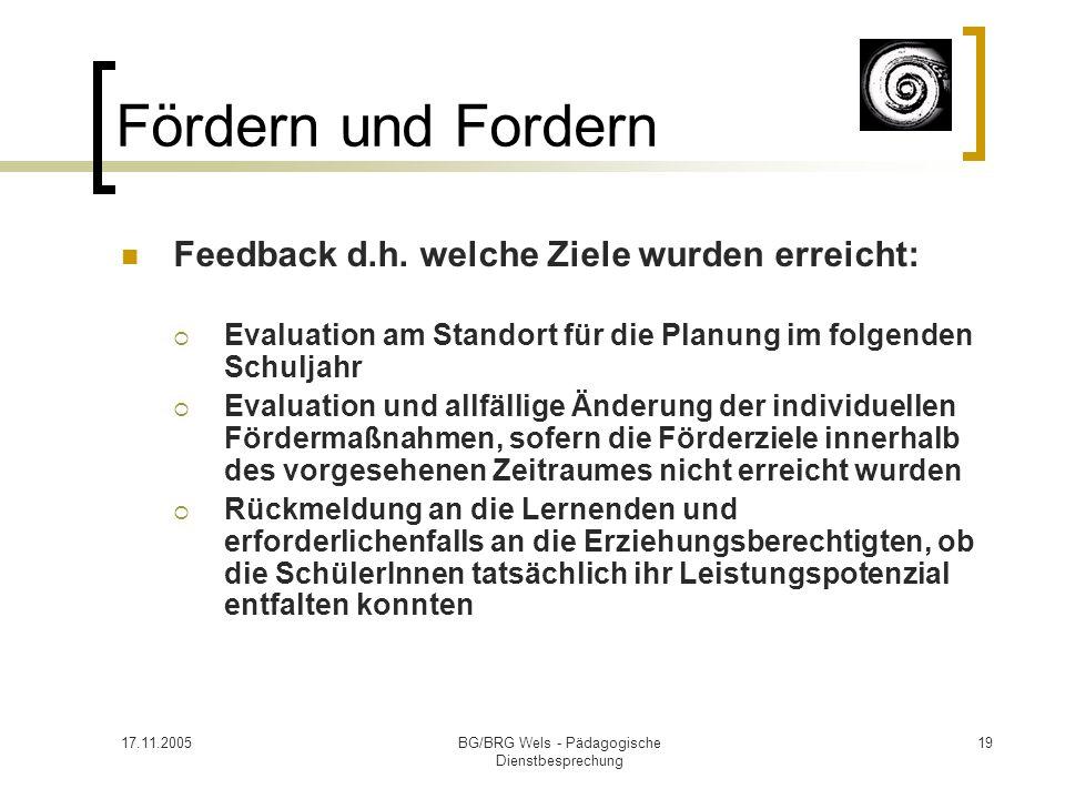 17.11.2005BG/BRG Wels - Pädagogische Dienstbesprechung 19 Fördern und Fordern Feedback d.h. welche Ziele wurden erreicht: Evaluation am Standort für d