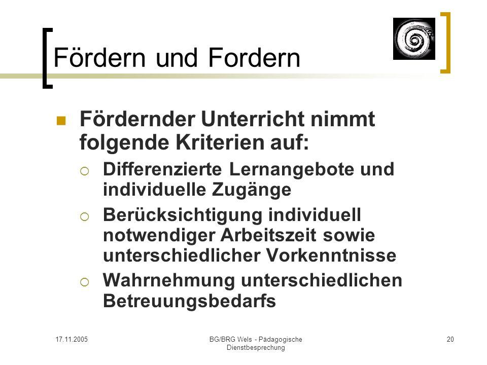 17.11.2005BG/BRG Wels - Pädagogische Dienstbesprechung 20 Fördern und Fordern Fördernder Unterricht nimmt folgende Kriterien auf: Differenzierte Lerna