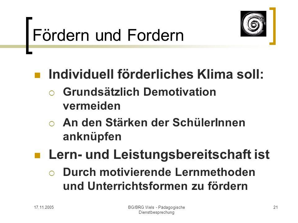 17.11.2005BG/BRG Wels - Pädagogische Dienstbesprechung 21 Fördern und Fordern Individuell förderliches Klima soll: Grundsätzlich Demotivation vermeide