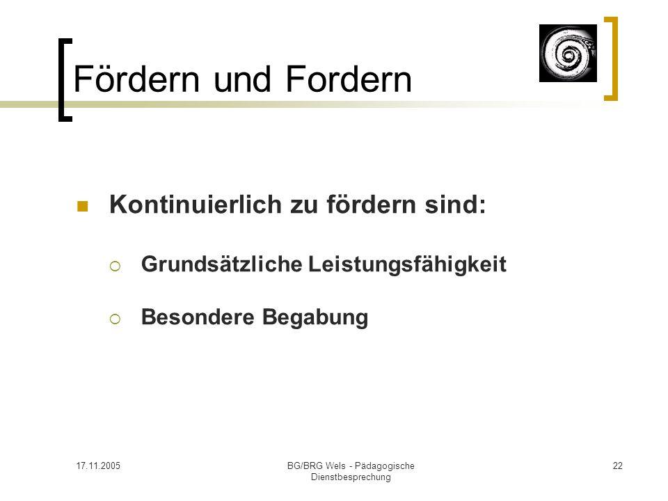 17.11.2005BG/BRG Wels - Pädagogische Dienstbesprechung 22 Fördern und Fordern Kontinuierlich zu fördern sind: Grundsätzliche Leistungsfähigkeit Besond