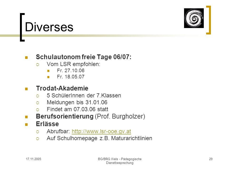 17.11.2005BG/BRG Wels - Pädagogische Dienstbesprechung 29 Diverses Schulautonom freie Tage 06/07: Vom LSR empfohlen: Fr. 27.10.06 Fr. 18.05.07 Trodat-