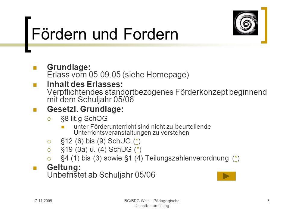 17.11.2005BG/BRG Wels - Pädagogische Dienstbesprechung 3 Fördern und Fordern Grundlage: Erlass vom 05.09.05 (siehe Homepage) Inhalt des Erlasses: Verp