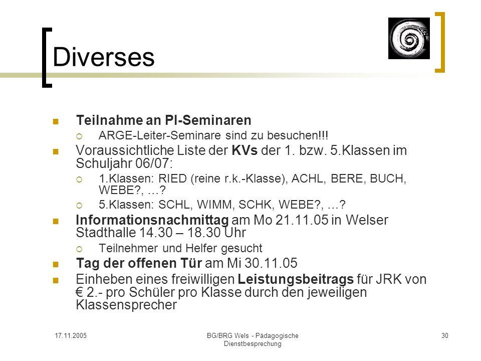 17.11.2005BG/BRG Wels - Pädagogische Dienstbesprechung 30 Diverses Teilnahme an PI-Seminaren ARGE-Leiter-Seminare sind zu besuchen!!! Voraussichtliche
