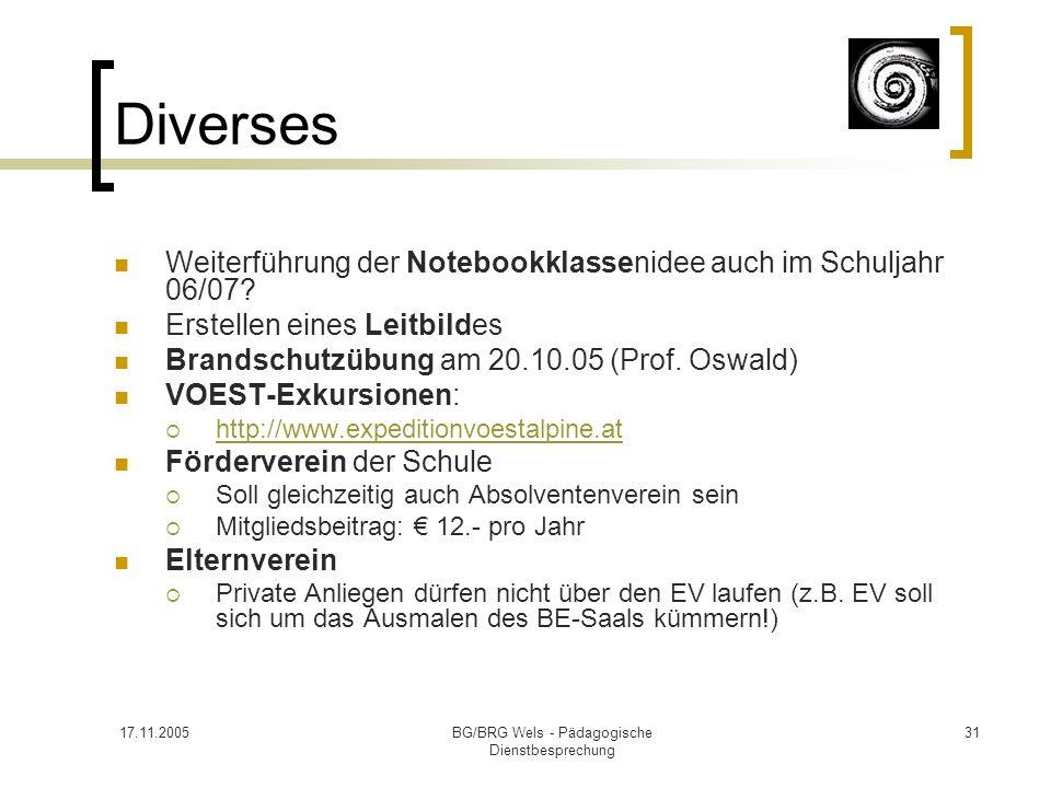 17.11.2005BG/BRG Wels - Pädagogische Dienstbesprechung 31 Diverses Weiterführung der Notebookklassenidee auch im Schuljahr 06/07? Erstellen eines Leit