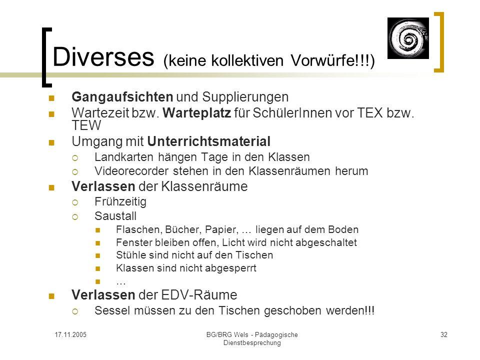 17.11.2005BG/BRG Wels - Pädagogische Dienstbesprechung 32 Diverses (keine kollektiven Vorwürfe!!!) Gangaufsichten und Supplierungen Wartezeit bzw. War