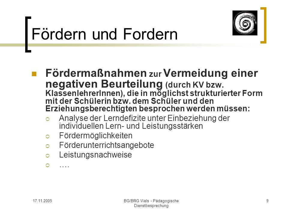 17.11.2005BG/BRG Wels - Pädagogische Dienstbesprechung 9 Fördern und Fordern Fördermaßnahmen zur Vermeidung einer negativen Beurteilung (durch KV bzw.
