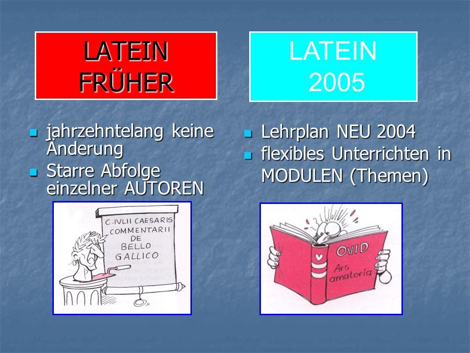 LATEIN FRÜHER jahrzehntelang keine Änderung jahrzehntelang keine Änderung Starre Abfolge einzelner AUTOREN Starre Abfolge einzelner AUTOREN Lehrplan NEU 2004 Lehrplan NEU 2004 flexibles Unterrichten in MODULEN (Themen) flexibles Unterrichten in MODULEN (Themen) LATEIN 2005