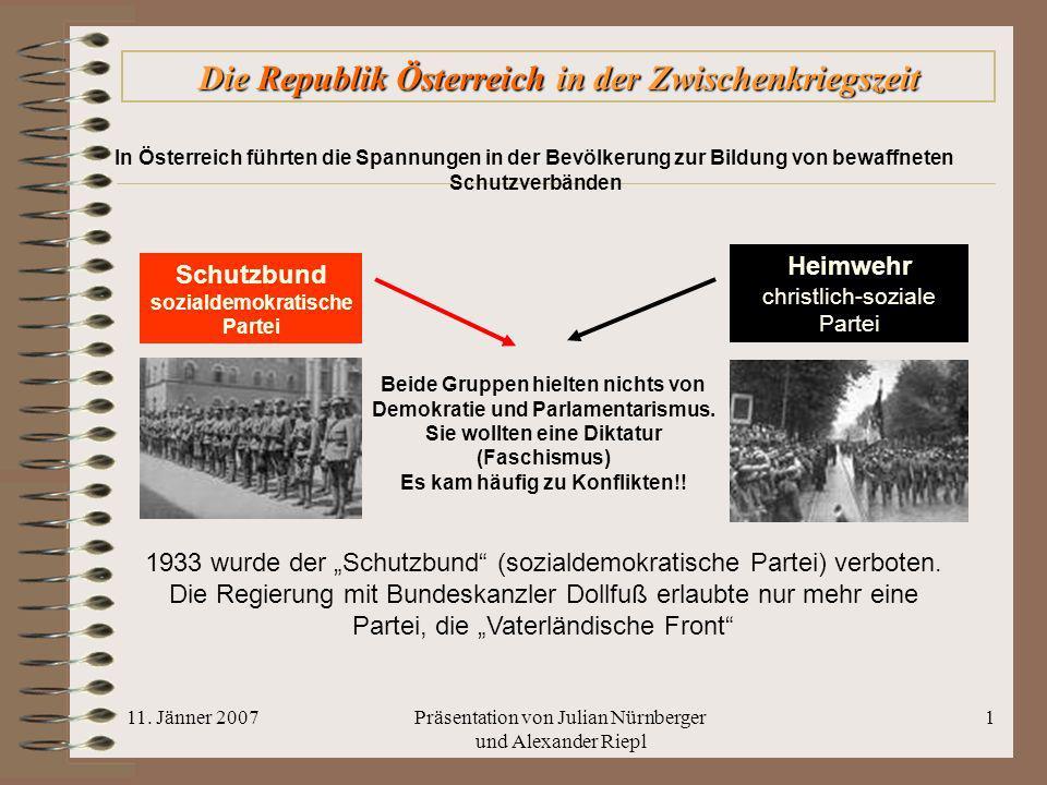 11. Jänner 2007Präsentation von Julian Nürnberger und Alexander Riepl 1 Die Republik Österreich in der Zwischenkriegszeit In Österreich führten die Sp