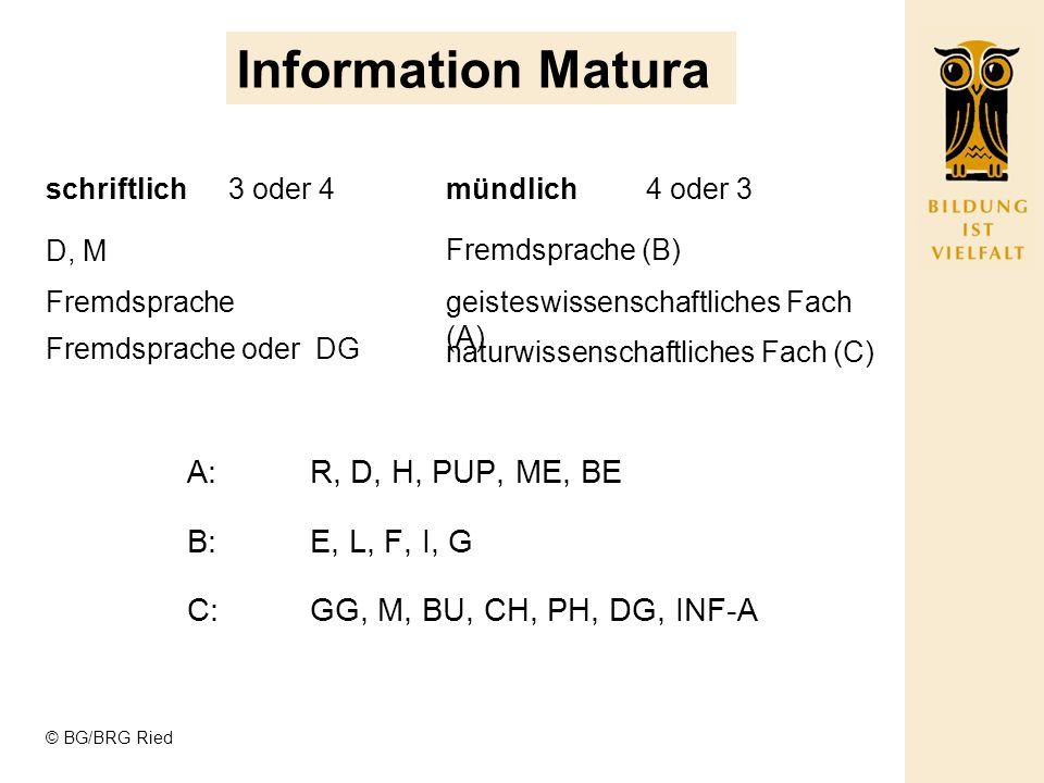 © BG/BRG Ried Information Matura schriftlichmündlich D, M Fremdsprache Fremdsprache oder DG Fremdsprache (B) geisteswissenschaftliches Fach (A) naturwissenschaftliches Fach (C) 3 oder 44 oder 3 A:R, D, H, PUP, ME, BE B:E, L, F, I, G C:GG, M, BU, CH, PH, DG, INF-A