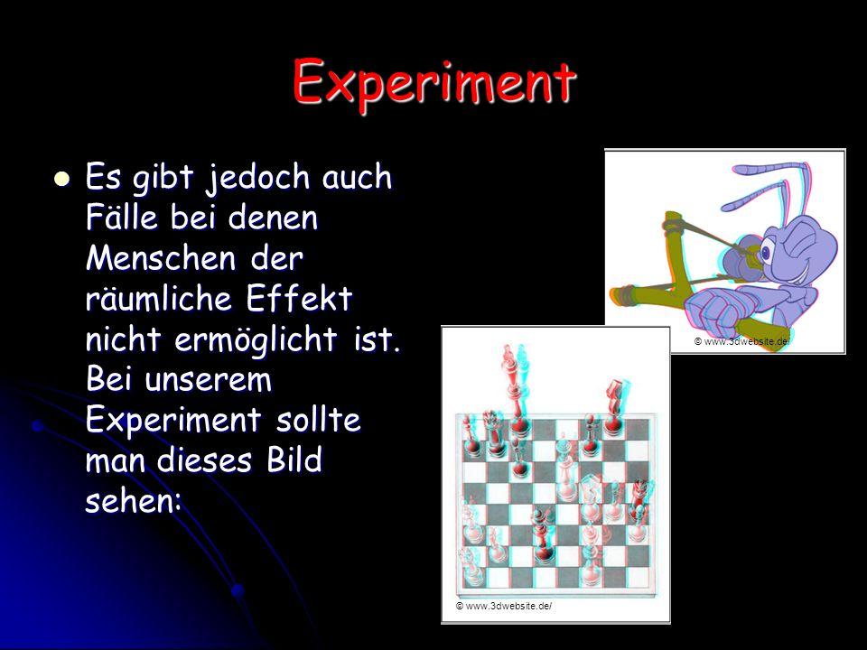 Experiment Es gibt jedoch auch Fälle bei denen Menschen der räumliche Effekt nicht ermöglicht ist. Bei unserem Experiment sollte man dieses Bild sehen