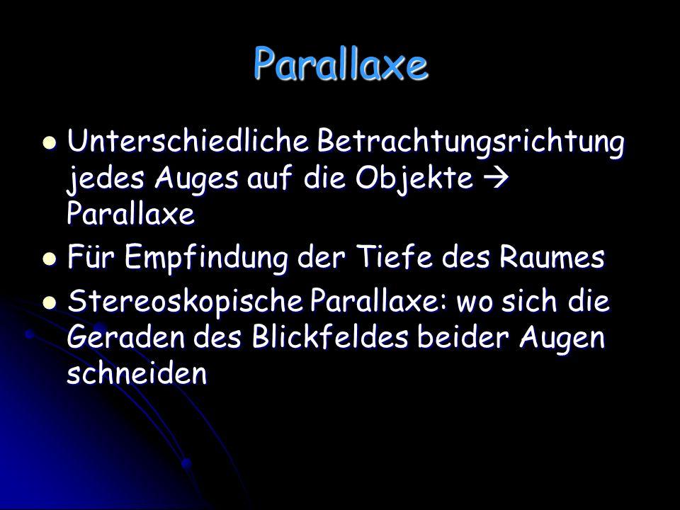 Parallaxe Unterschiedliche Betrachtungsrichtung jedes Auges auf die Objekte Parallaxe Unterschiedliche Betrachtungsrichtung jedes Auges auf die Objekt