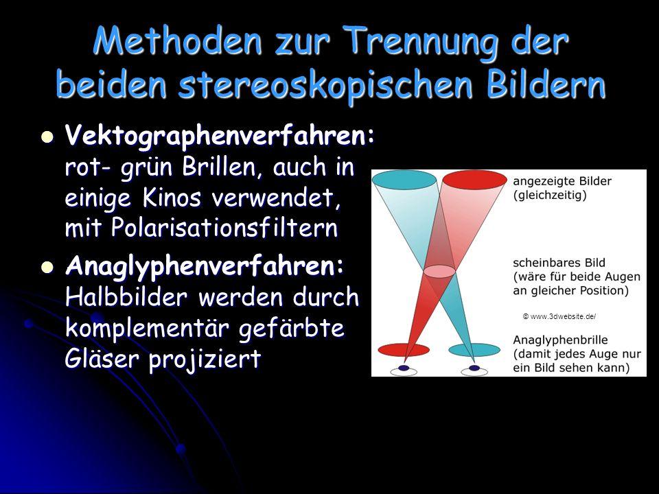 Methoden zur Trennung der beiden stereoskopischen Bildern Vektographenverfahren: rot- grün Brillen, auch in einige Kinos verwendet, mit Polarisationsfiltern Vektographenverfahren: rot- grün Brillen, auch in einige Kinos verwendet, mit Polarisationsfiltern Anaglyphenverfahren: Halbbilder werden durch komplementär gefärbte Gläser projiziert Anaglyphenverfahren: Halbbilder werden durch komplementär gefärbte Gläser projiziert © www.3dwebsite.de/
